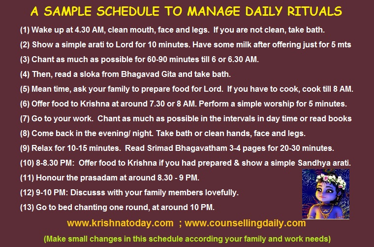 A Daily Plan for performing rituals suitable for many devotees